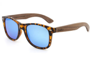 Drift wooden sunglasses with blue lenses