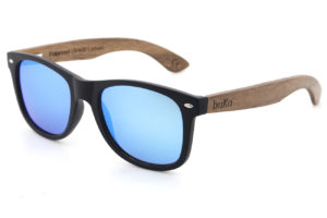 Runaway wooden sunglasses with blue lenses