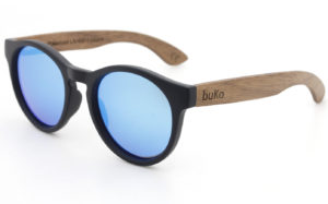Rendezvous wooden sunglasses with blue lenses