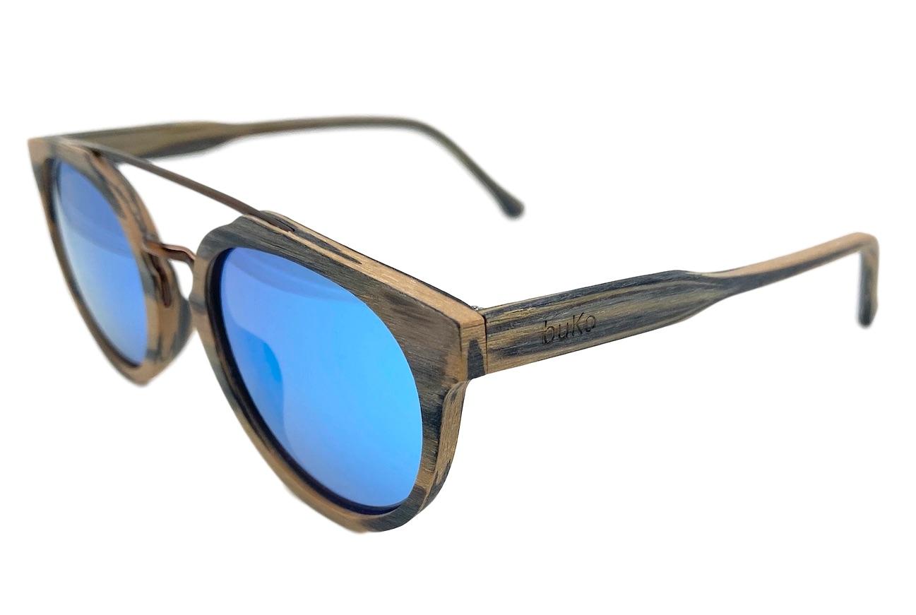 Clovelly Oak Wooden Sunglasses with blue lenses