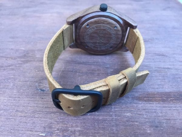 Walnut wood watch with brown leather band