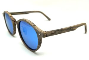 Avalon Oak wood sunglasses side blue