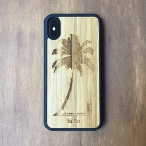 Wooden iPhone X, XS, XS Max case with palm tree engraving