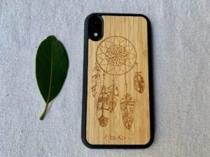 Wooden iPhone XR Case with Dreamcatcher Engraving
