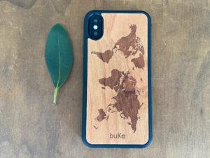 Wooden iPhone XS Max Case with World Map Engraving