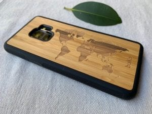 Wooden Galaxy S9/S9 Plus Case with World Map Engraving