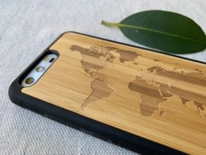 Wooden Huawei P10 Case with World Map Engraving