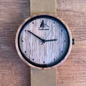 Walnut Wood Watch with Leather Band - 38mm