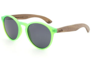 Kids fluro green wooden sunglasses