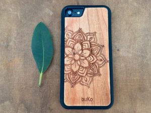 Wooden iPhone 8 and iPhone 8 PLUS Case with Mandala Engraving