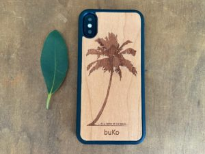 Wooden iPhone XS Max Case with Palm Tree Engraving