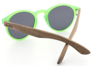 Kids fluro green wooden sunglasses back