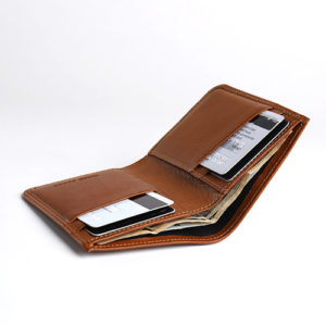 Tan full grain leather wallet