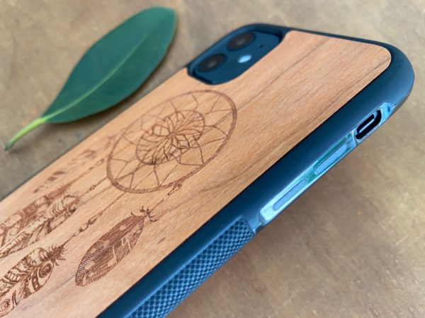 Wooden iPhone 11, 11 Pro, & 11 Pro Max Case with Dreamcatcher Engraving II