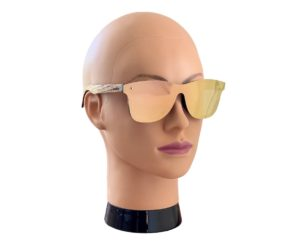 Wooden sunglasses with rose gold lenses