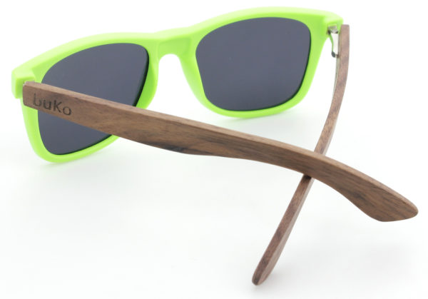 Runaway Green wooden sunglasses back