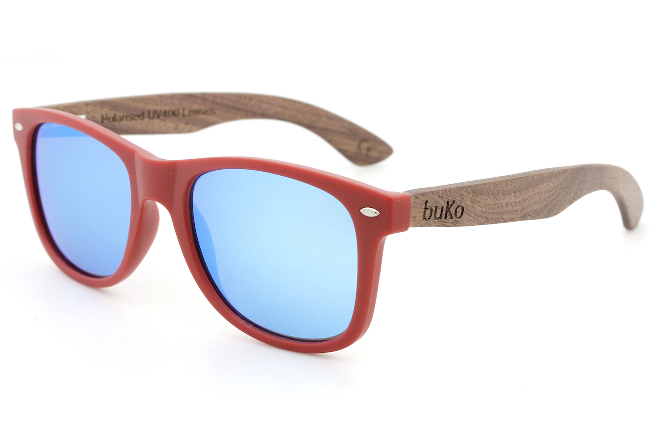 Runaway Red Wooden Sunglasses with blue lenses