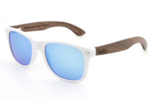 Runaway White wooden sunglasses with blue lenses