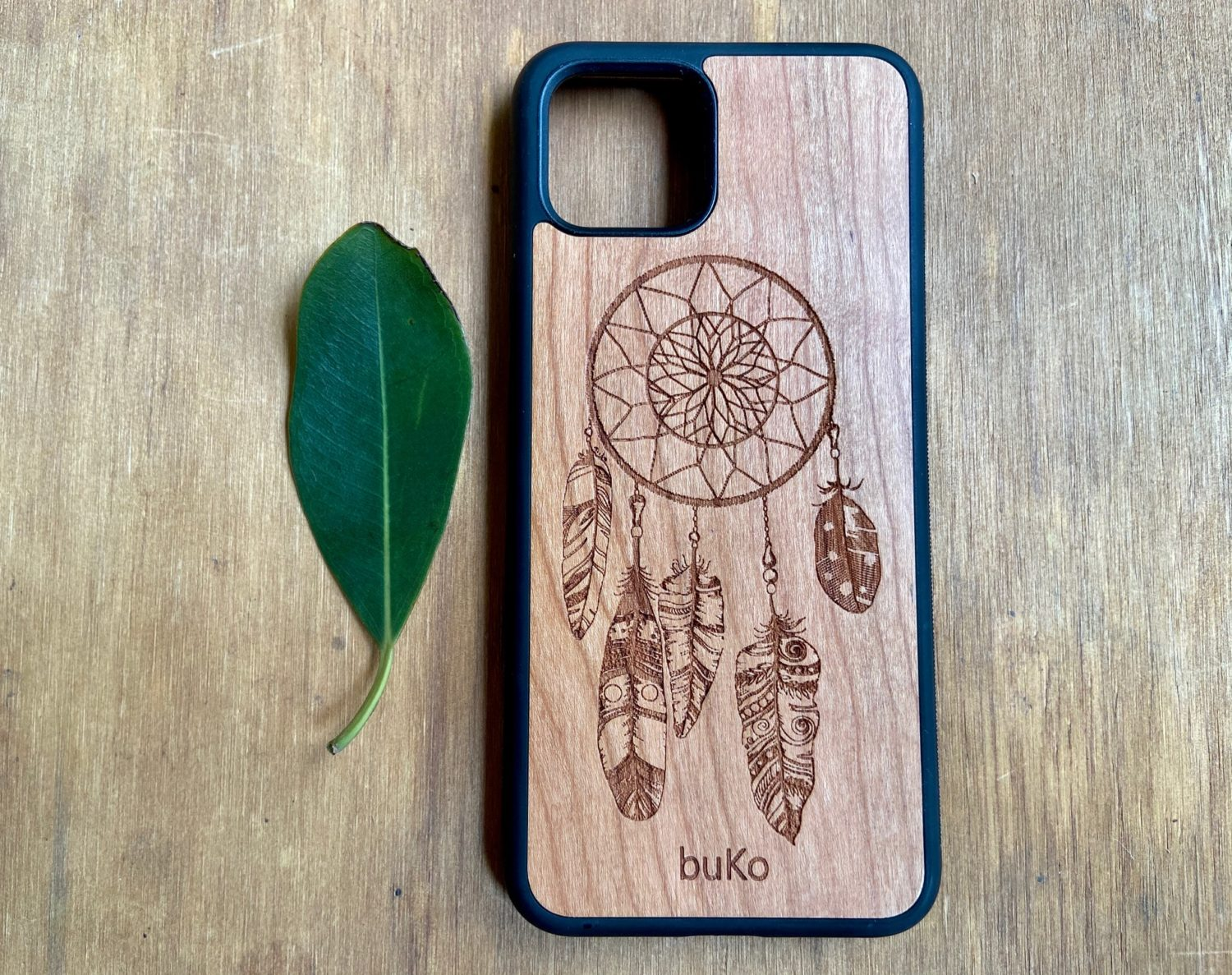 Wooden Google Pixel 4 and 4XL Case with Dreamcatcher Engraving