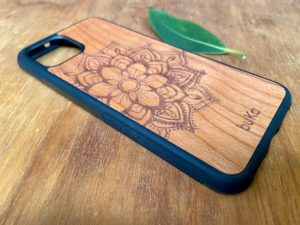 Wooden Google Pixel 4 and 4XL Case with Mandala Engraving